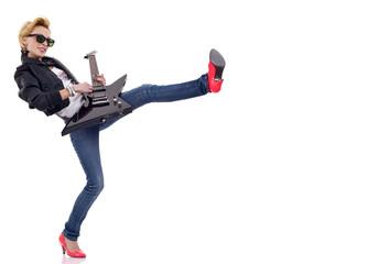 kicking woman guitarist