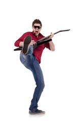 kicking guitaris