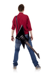 guitar on back of a man