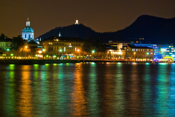 Como view at night from lake side