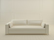 White couch in white interior.