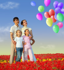 family of four in red field and balloons collage