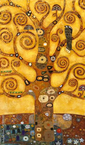 Obraz na Plexi tree of abstract swirl, oil on canvas