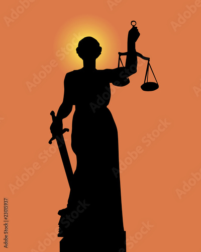 Silhouette of a statue of justice