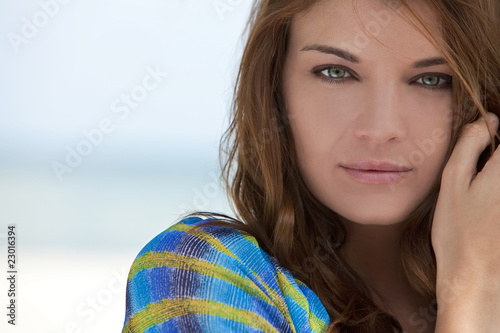 Outdoor Natural Portrait of Beautiful Woman With Green Eyes