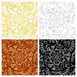 Vintage seamless patterns with floral scrolls and swirls