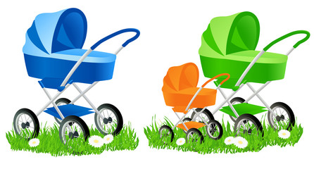 Colored baby carriages