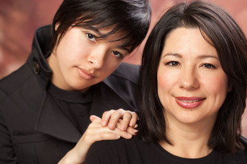 Attractive Multiethnic Mother and Daughters Portrait