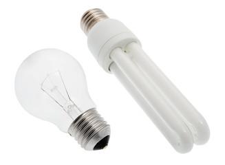 Glühbirne und Energiesparlampe inklusive Beschneidungspfad