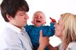 Leinwanddruck Bild - Baby Zahnschmerzen