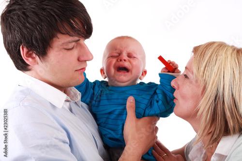 Leinwanddruck Bild Baby Zahnschmerzen