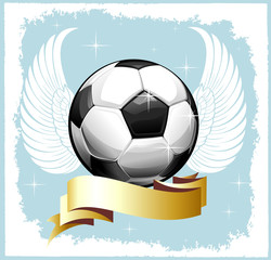 Football background with the ball and wings