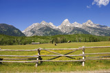 a pastoral scene on a ranch at the base of the Tetons poster
