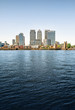 Panoramic picture of Canary Wharf view from Greenwich.
