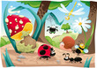 Insects family on the ground. Funny cartoon and vector scene.