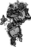 butterfly and rose lace design