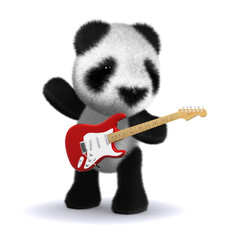 3d Panda plays his guitar