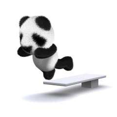 3d Panda takes a dip