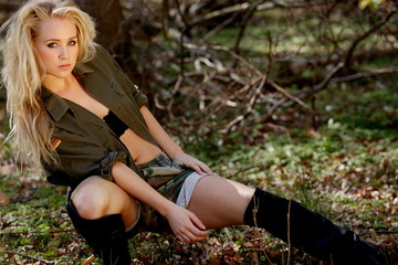 Bootcamp girl, sexy blonde in army style outfit