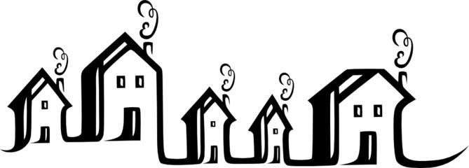 Immobilien, Makler, Häuser Silhouette, Logo, Stadt