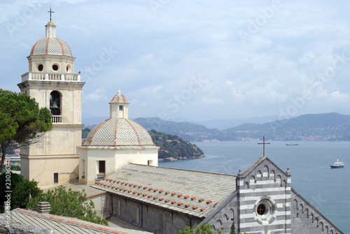 Ancient church in the harbour of Portovenere in Italy