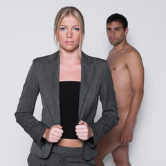 young couple with man naked