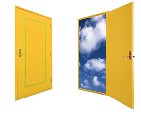 Wooden open and close doors with clouds