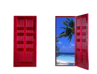 Wooden open and close doors with landscape and ocean seaside