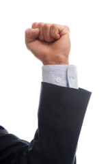 business man hand with victory signal