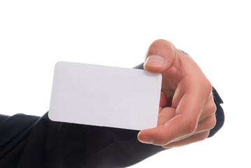 business man hand with card