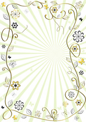 White and golden floral frame