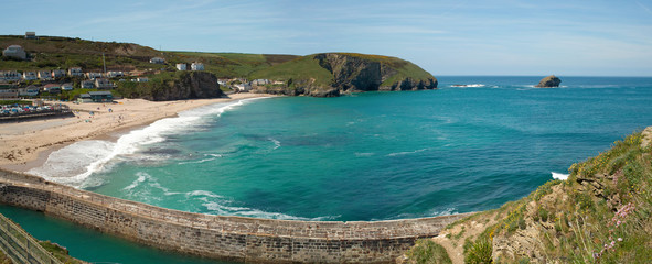 Panorama of Portreath beach and pier.