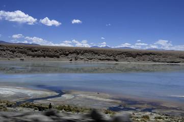 Laguna en desierto de Uyuni Bolivia