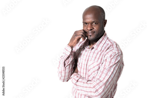Happy african businessman portrait smiling isolated on white