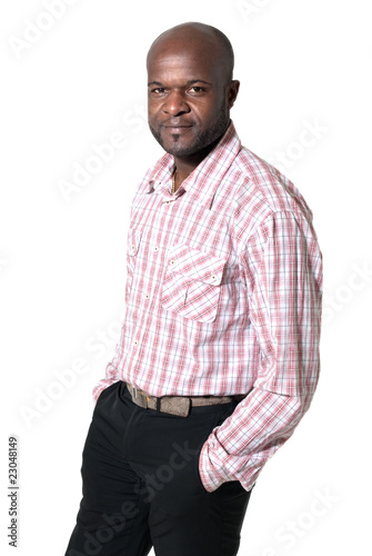 Happy african businessman portrait isolated on white background.