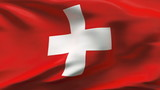 Creased Swiss satin flag in wind with seams and wrinkle poster
