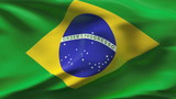 Creased Brazil flag in wind with seams and wrinkle poster