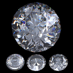 3d Round brilliant cut diamond perspective