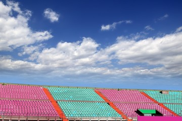 stadium colorful grandstand stands blue sky