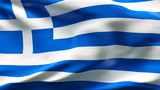 Creased Greek satin flag in wind with seams and wrinkle poster