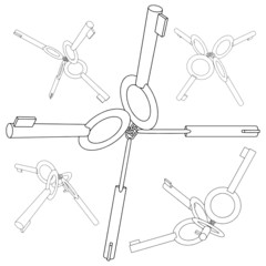 Handcuff Keys In Five Chains Vector 03