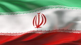Creased Iran satin flag in wind with seams and wrinkles poster