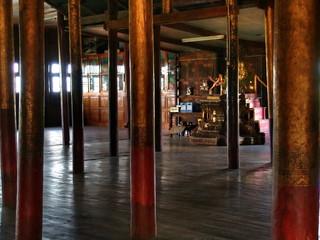 Myanmar, Inle Lake - Nga Phe Chaung Monastery interior