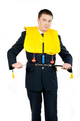 steward in a life jacket