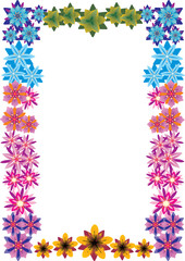 bright color floral frame illustration