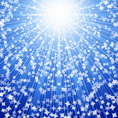 Stars coming down on rays of light. Vector.