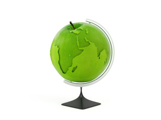 Globe earth in green apple. Concept education