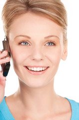 happy businesswoman with phone