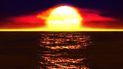Red sunset waves
