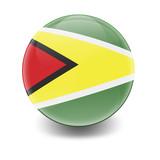 Esfera brillante con bandera Guyana
